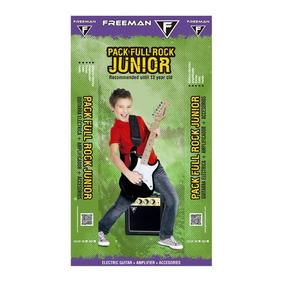 Pack Guitarra Eléctrica Stratocaster Kid, Negro, Freeman