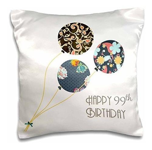 Imagen 1 de 1 de Funda  De Almohada Con Diseño De Globos Cumpleaños  3dros