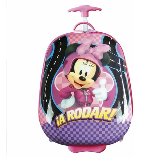 Mochila Rígida Minnie Con Carro Infantil Valija 16 Pulgadas