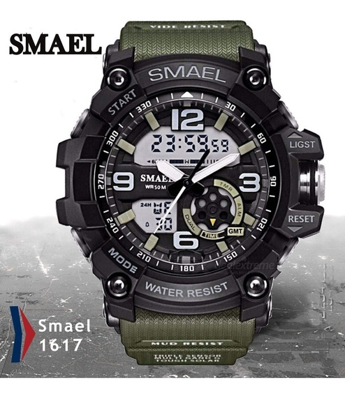 Relógio Smael Esportivo Verde Tático - Resistente A Água