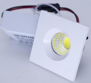 Spot Mini Dicroica 3w Cob Branco Frio Quadrado
