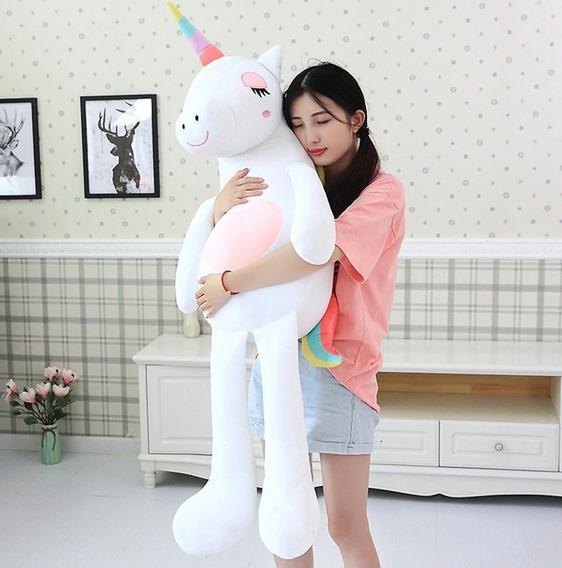 Unicornio De Pelucia Grande Macio Fofinho Branco E Rosa 60cm