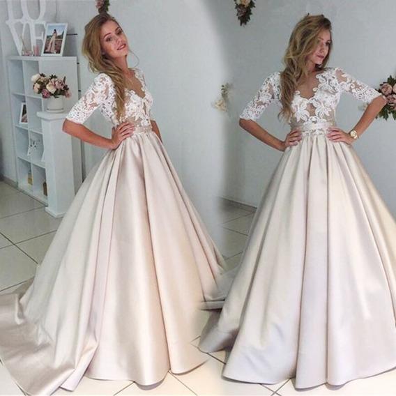 Elegante Vestido Boda Formal Encaje Patchwork Vestidos De Pa