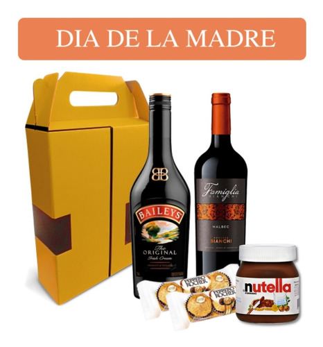 Imagen 1 de 7 de Caja De Regalo B Vino + Baileys + Chocolate Ferrero. Quirino