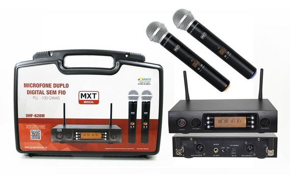 Microfone Duplo Sem Fio Profissional Uhf Digital Ajustável