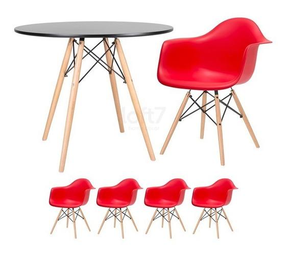 Kit Jantar Cozinha Eames Eiffel Mesa 80 Cm 4 Cadeiras Daw