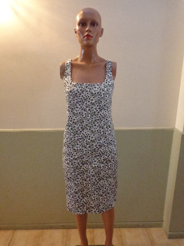 Graciela Naun Vestido Color Gris/blanco Y Negro Talle S