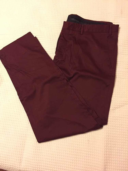 Pantalón De Vestir Masculino Color Bordó Satinado Talle 38