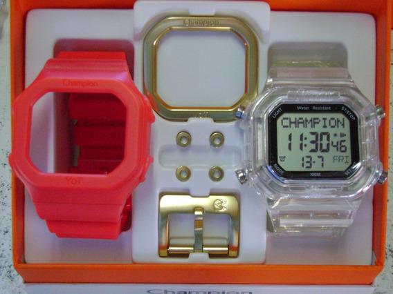 Relógio Champion Yot Original Cp40180x Nf Vermelho Transpar