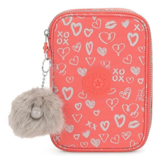 Estojo Kipling 100 Pens- Hearty Pink Met