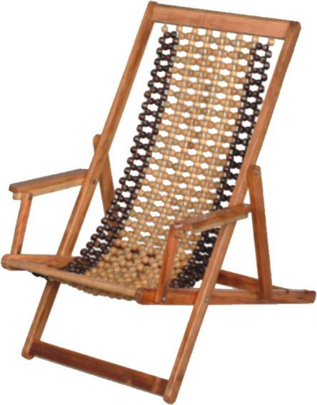 Cadeira Espreguiçadeira Dobrável Com Cabo De Aço E Madeira