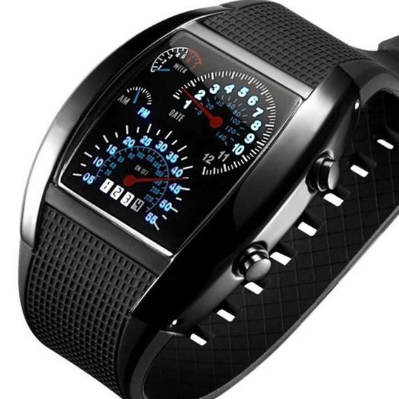 Relógio Led Velocímetro Rpm Digital Pulso Masculino Preto