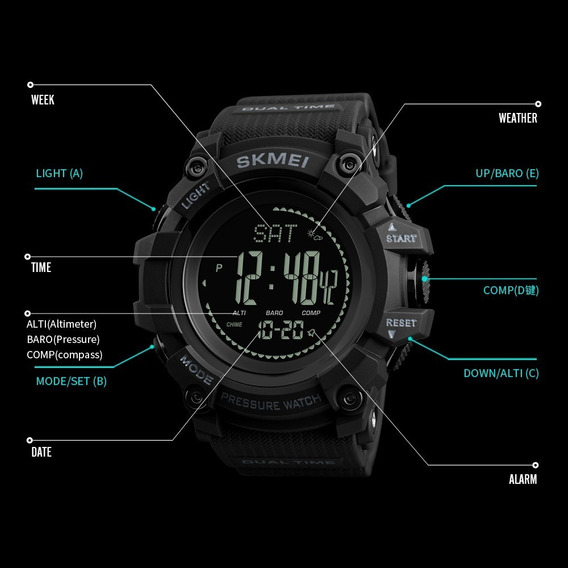 Relógio Masculino Original Grande Altímetro Temperatura Barômetro Bussola Acompanha Pulso Elegante + Caixa