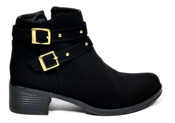 Botines Botas Zapatos Mujer Tacon 3/2 Negro Nobuc Cremallera