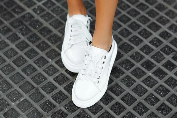Zapatillas Blancas Mujer Charol Plataforma Cordones Glitter