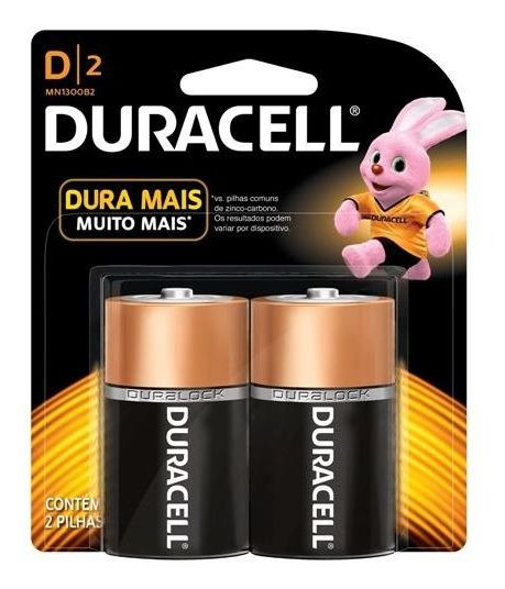 Pilhas Grande D Duracell Alcalina Cartelas C/2 Mn1300b2