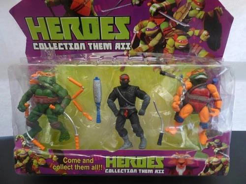 Imagen 1 de 3 de Coleccion De 3 Juguetes Las Tortugas Ninja Grande