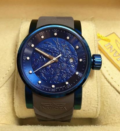 Relógio Automático Yakuza Azul Pulseira Cinza