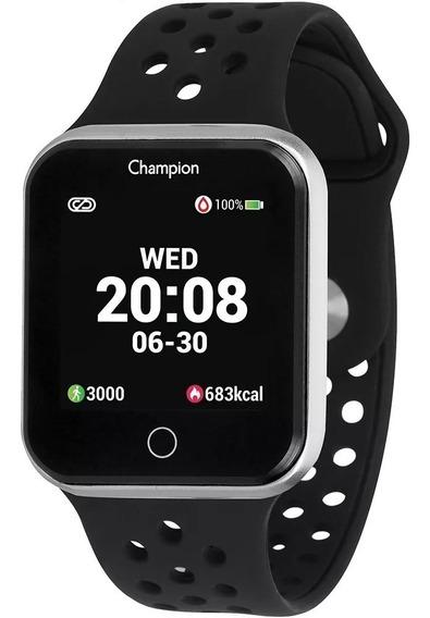 Relógio Smartwatch Champion Prata Preto Ch50006t Bluetooth