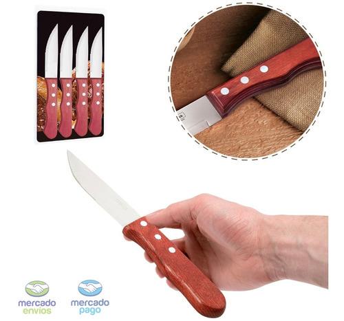 Cuchillos Set X4 Cocina Chef Para Carnes Bbq Madera Steak