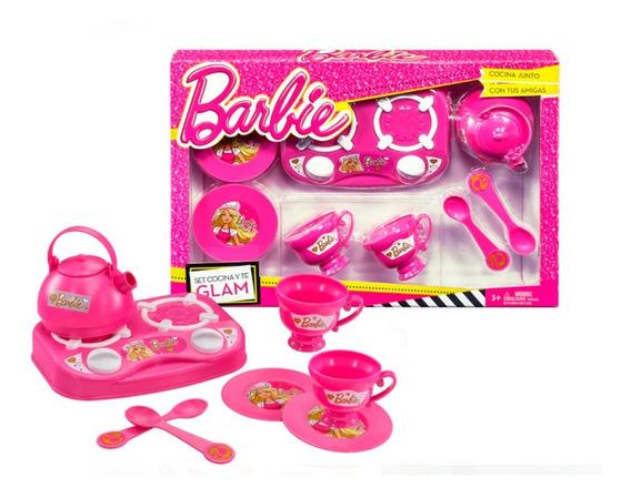 Juguete Nena Barbie Set De Te Con Cocina 421 Babymovil