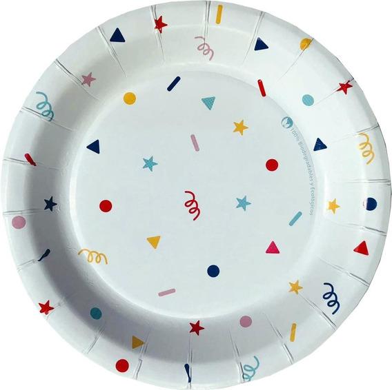 20 Platos Desechables Cartón Biodegradable Confeti P/pastel