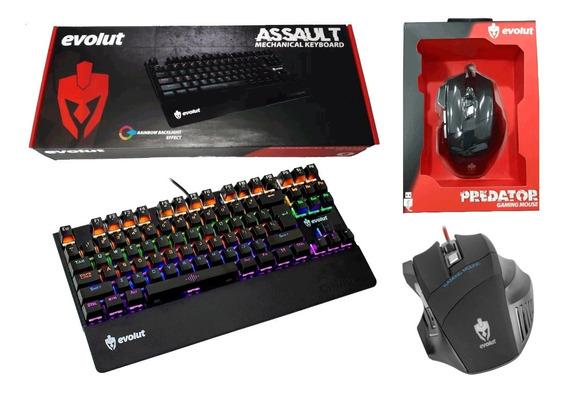 Kit Teclado Gamer Evolut Assault Blue + Mouse Gamer Predator