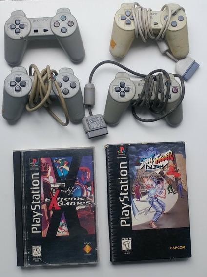 2 Controles Playstation 1 + 1 Jogo Original