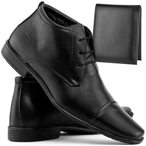 Sapato Bota Social Masculino Casual Em Couro + Carteira