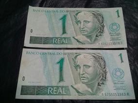 Billetes De Bradil, 2 Billetes De 1 Real, Distintas Firmas
