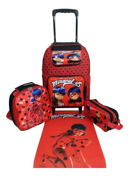 Kit Mochila Infantil Escolar Miraculous Rodinha Ladybug