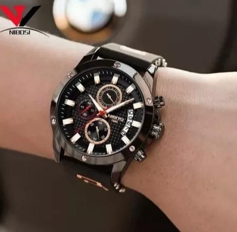 Relógio Masculino Nibosi 2333 Funcional +chave Flanela+caixa
