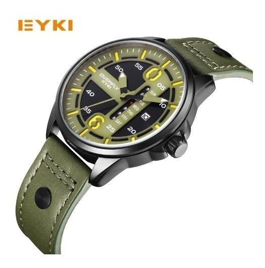 Relógio Pulso Masculino Verde Escuro Couro Luxo Eyki Barato