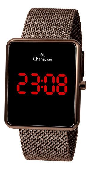 Relógio Champion Masculino Ch40080o Digita,quadrado, Marrom