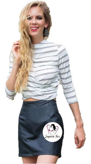 Falda Corta Vinipiel Tubo Moda Coreana Rocker Sexy Mod.r210