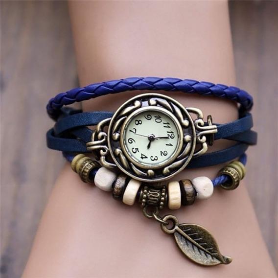 Relógio Feminino Pulseira De Couro Estilo Vintage Hippie