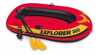 Lancha Inflable Con Bomba Y Remos Intex Explorer 300