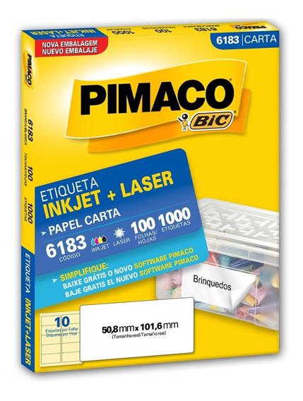 Etiqueta Pimaco 6183 - 100 Folhas - 50,8 X 101,6 Mm