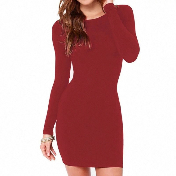 Vestido Rojo Corto Invierno Termico Talla 5 Ver 2da Foto
