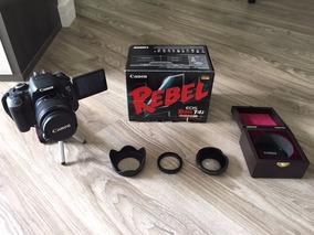 Câmera Canon Eos Rebel T4i 16gb Com Bolsa E Kit Com 3 Lentes
