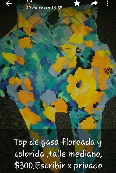 Top De Gasa Floreada Y Coloreada