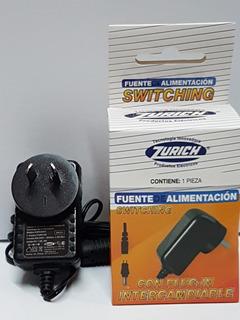 Fuente Switching 12v 2a 24w Con Ficha Plug Intercambiable