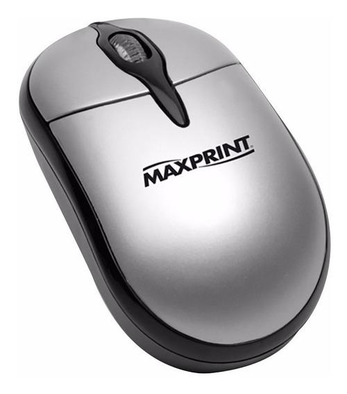 10x 605275 Mouse Ótico Maxprint Ps-2 Preto E Prata C/nfe