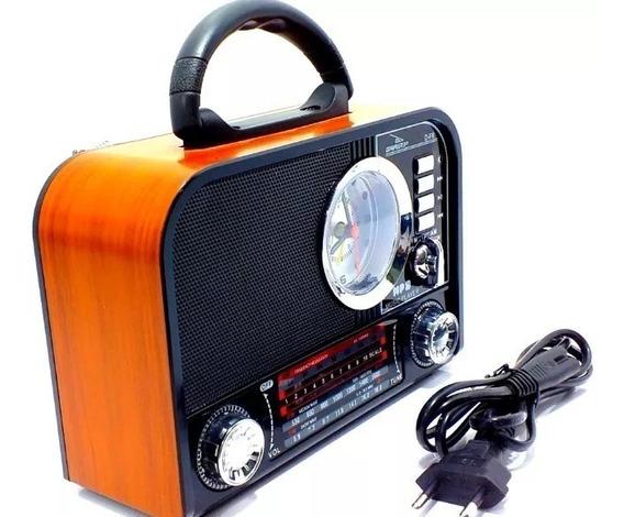 Caixa Som Retrô Bluetooth Radio Am Fm Sw Usb Sd Grazep F8
