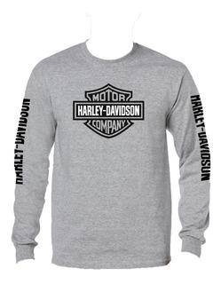 Harley Davidson Playera Manga Larga Gris Jaspe