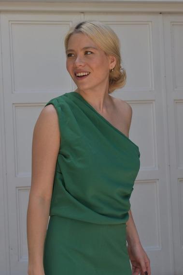 Vestido Largo Fiesta Verde Crepe