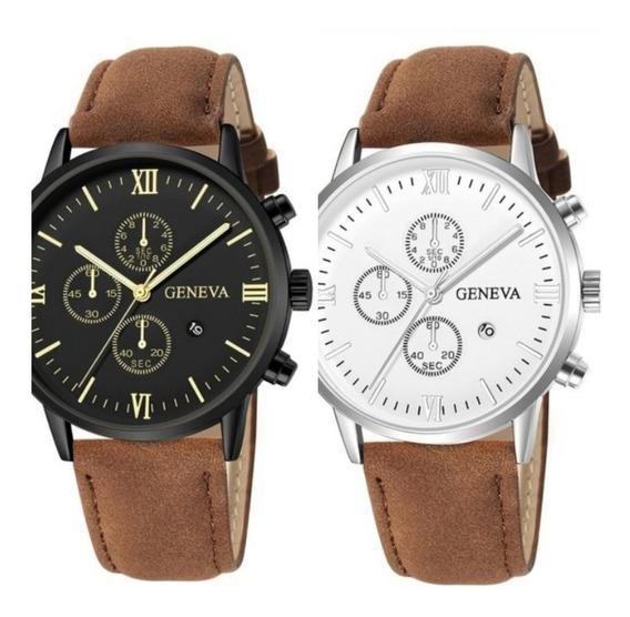Promoção Relógio Luxo Pulseira De Couro A Pronta Entrega