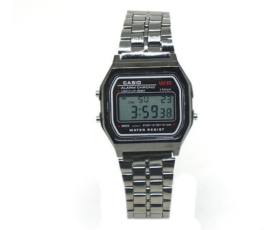 Relógio Digital Casio Grafite - Retrô Unissex