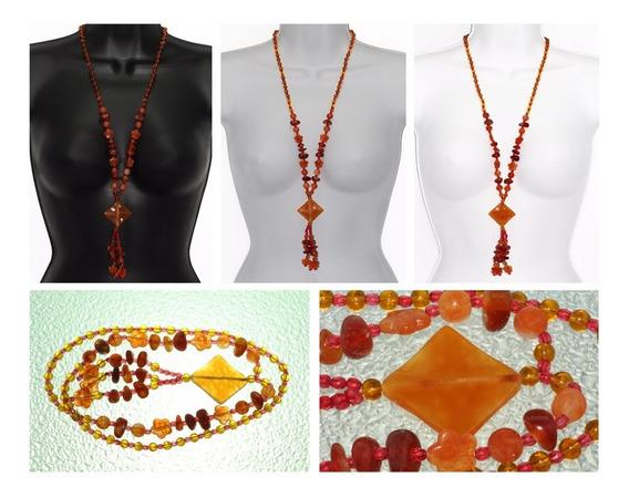 Collar Piedra Natural Dama Joyería Ágata Naranja Ccpn243