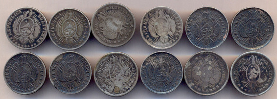 Bolivia Plata 900 Sensacional Lote 12 Monedas Gancho Rastra